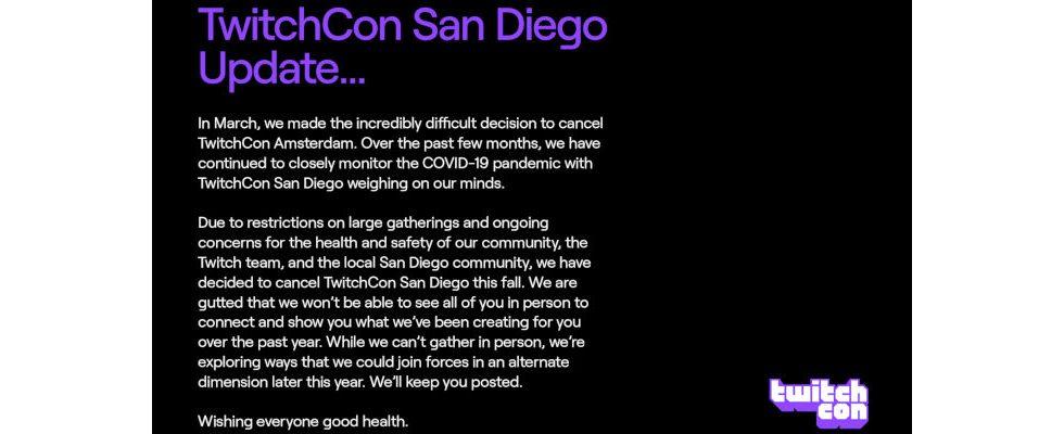 Absage: Die TwitchCon San Diego wird wegen Corona nicht stattfinden