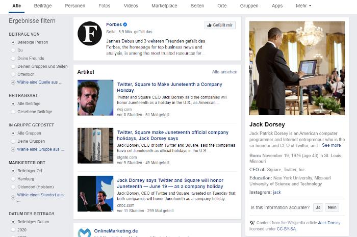 Unpassendes Bild zu Twitters Jack Dorsey im Knowledge Panel bei Facebook