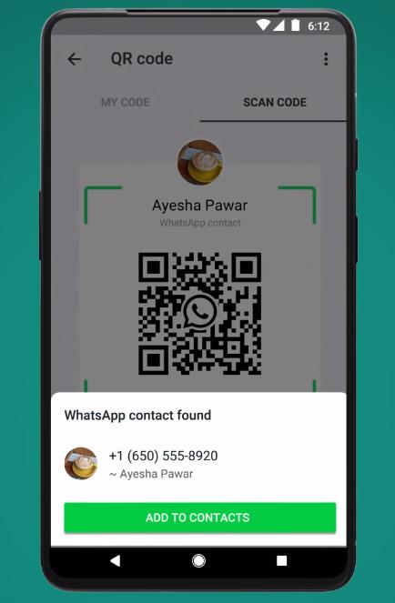 Einen Kontakt können User bei WhatsApp via QR Code scannen und speichern