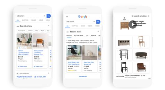 Neue Ad-Karussell-Optionen bei Google und die Möglichkeit zur Integration von Video Ads