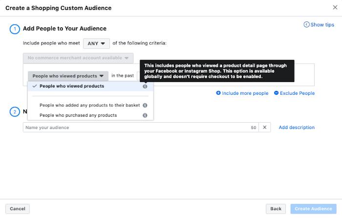 Neue Optionen im Ad Manager zur Optimierung der Custom Audience aufgrund von Shopping Engagement bei Instagram und Facebook