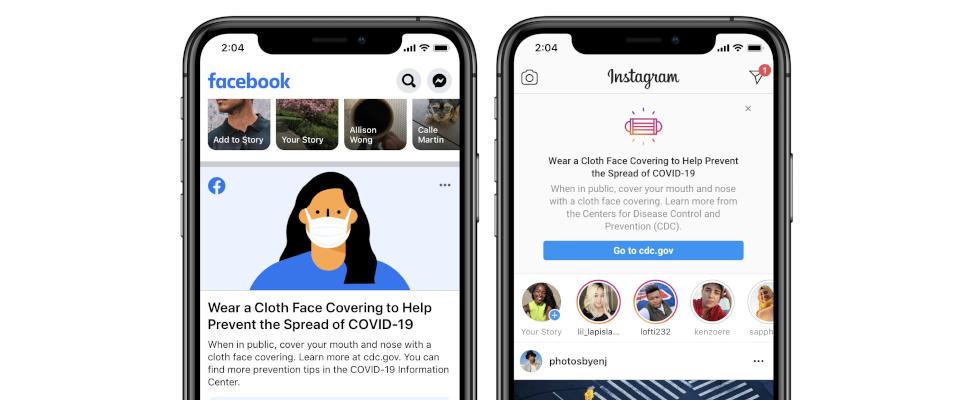 """""""Trage eine Maske"""" – Prominenter Reminder kommt zu Facebook und Instagram"""