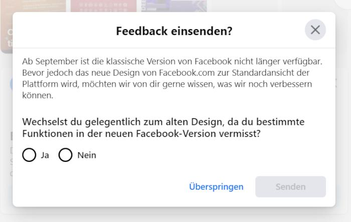 Benachrichtigung: Facebooks klassische Version kann bald nicht mehr verwendet werden