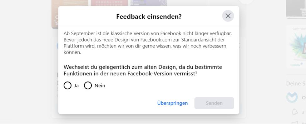 Facebooks klassisches Design  ab September nicht mehr verfügbar