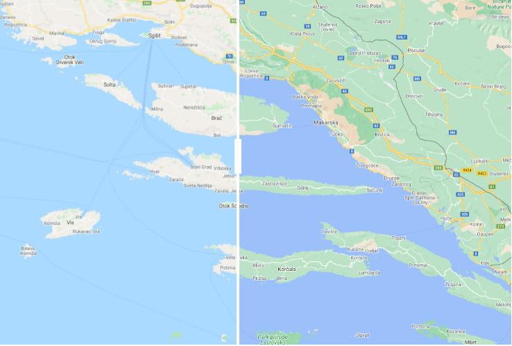 Die kroatische Küste in dem neuen und dem alten Google Maps Design