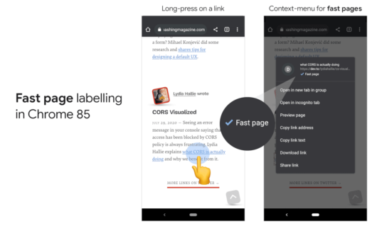 "Googles ""Fast page"" Label wird mobil bei Android angezeigt"