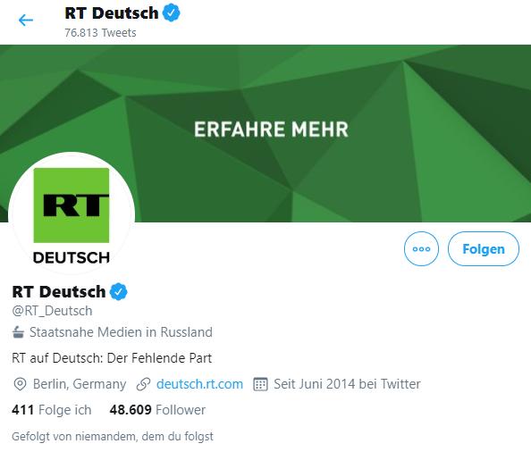 Ein Label für den Account von RT Deutsch