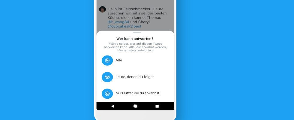 Twitter rollt Begrenzung der Antworten für alle User aus