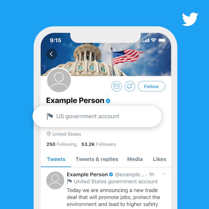 Twitters Beispiel-Label für den Account der US-Regierung