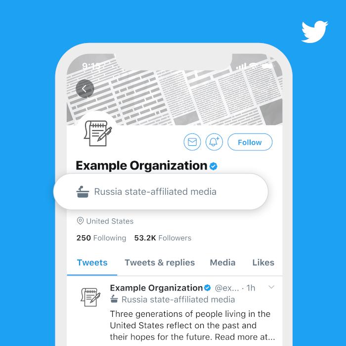 Twitters Beispiel-Label für ein staatsnahes Medium aus Russland.