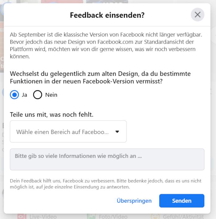 Feedback-Option für User, die öfter noch zum alten Design wechseln