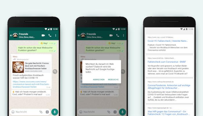 WhatsApp launcht Google-Suche im Message Stream