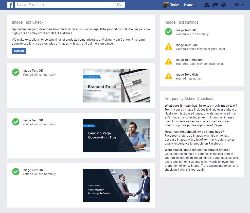 Screenshot des Text Overliy Tools von Facebook für Ad Images.