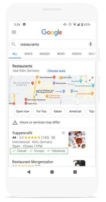 Google liefert neue Dienstleistungsattribute für GMB