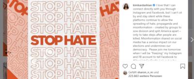 Gegen Hate Speech: Kim Kardashian friert ihren Instagram Account ein