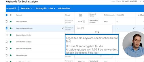 In unserem Beispiel verringern wir das Angebot von 1 € auf 0,7 € für dieses Keyword.