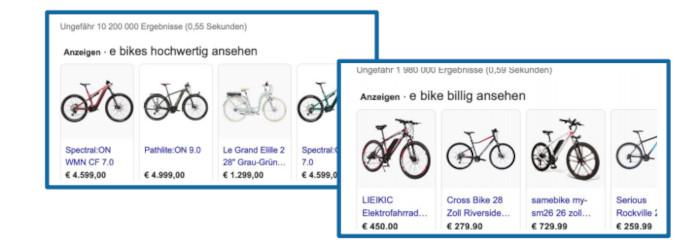 Google Ads zu E-Bikes