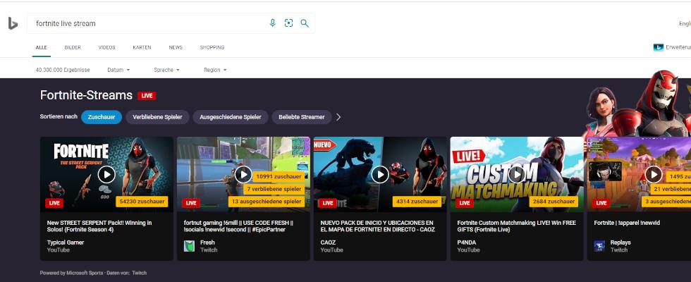 Bing führt Karussell für Gaming Live Streams in der Suche ein
