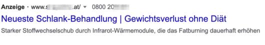 Übliche Anzeige ohne Erweiterung bei Google