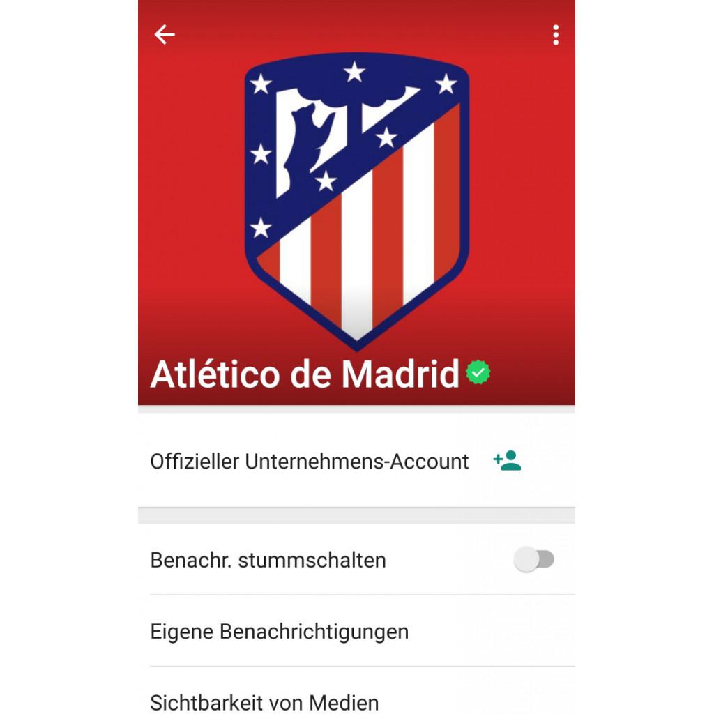 Chat-Option mit dem Chatbot von Atlético Madrid bei WhatsApp