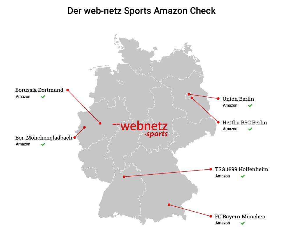 Der Amazon Check: Die Amazon-Landkarte ist noch rar besiedelt mit deutschen Profifußballclubs, © web-netz Sports