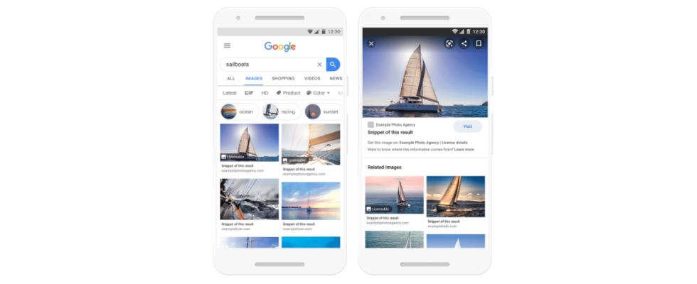 Google Bilder bringt Badges für Lizenzinformationen