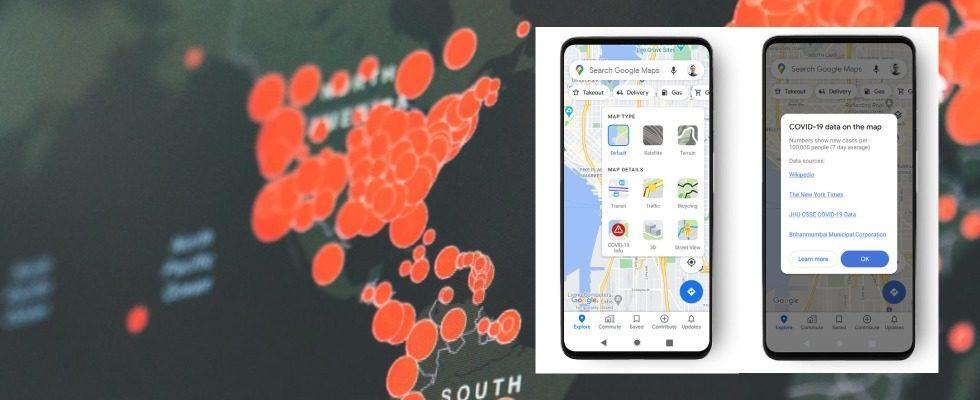 Google Maps teilt jetzt regionale Covid-19-Informationen