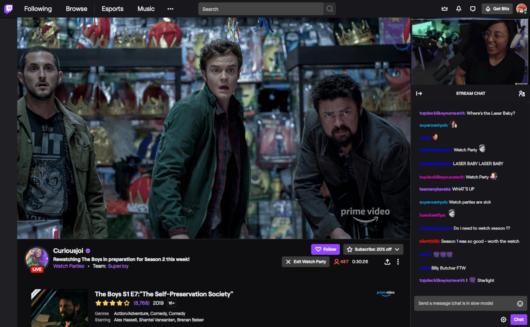 Watch Party auf Twitch mit Prime Video Content