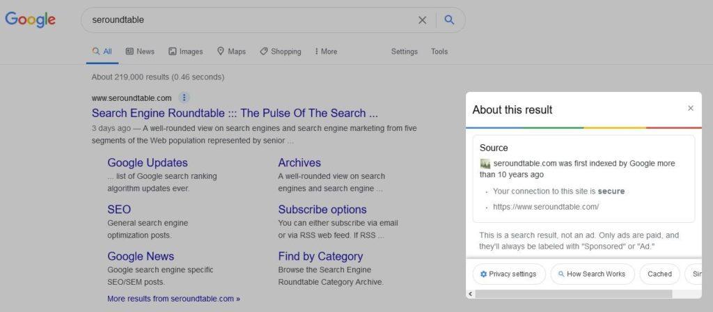 Googles About this result: Grundlegende Informationen werden prominent angezeigt