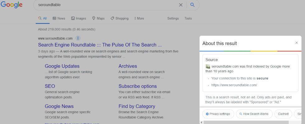 About this result: Google testet neue Infobox in den SERPs