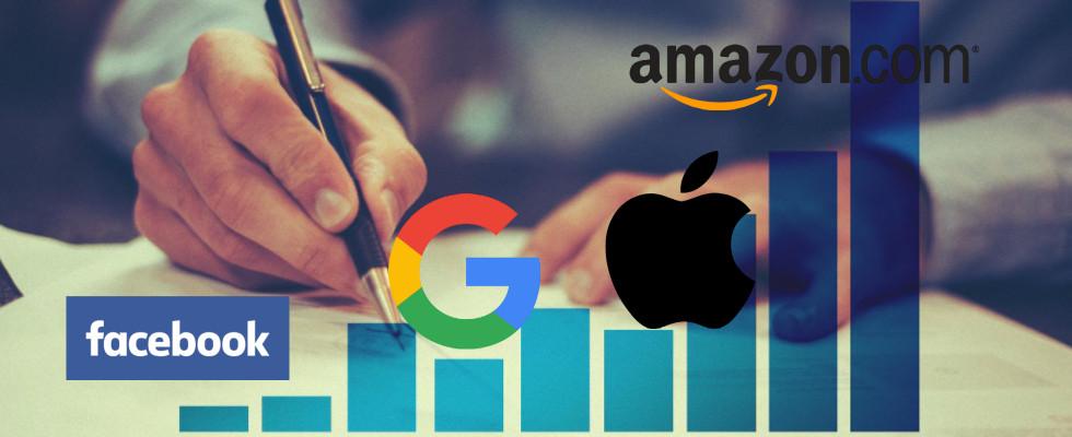 Immer mehr Marktmacht: Milliardenwachstum bei Google, Amazon, Facebook und Apple