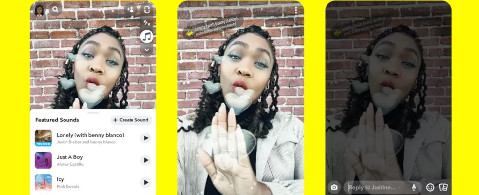 Neues Feature Sounds: Snapchat lässt alle iOS User Songs in ihre Snaps integrieren
