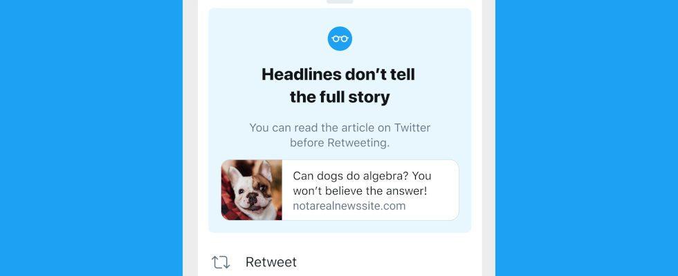 """Eine Headline verrät nicht alles: Twitter rollt """"Read it before you tweet it"""" Feature aus"""