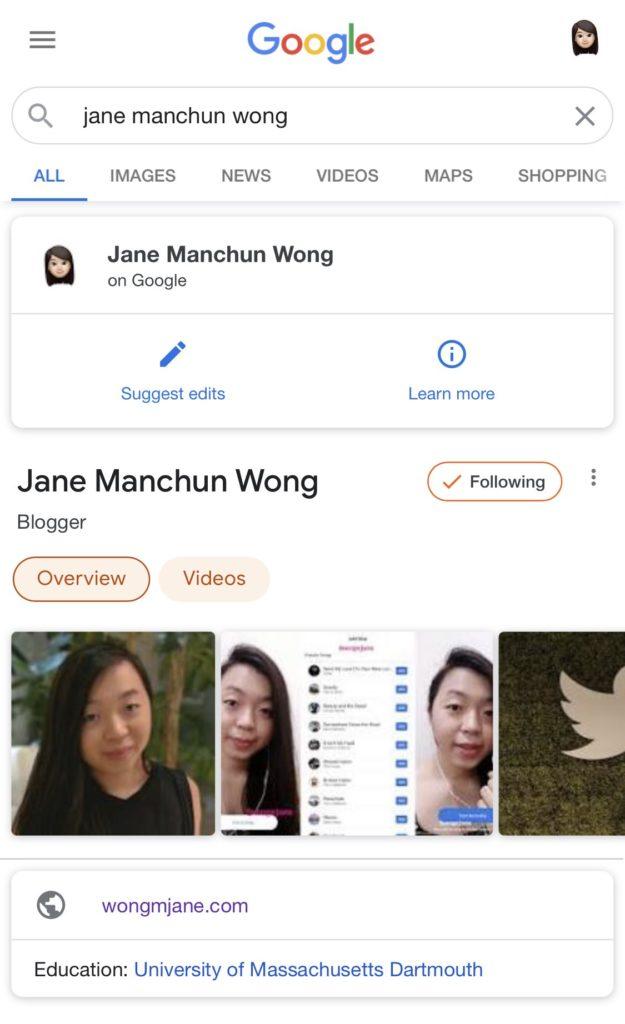 Die People Card von Jane Manchun Wong in der mobilen Google-Suche