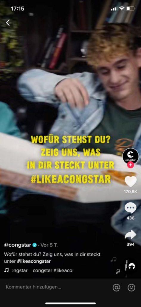 Der Aufruf zur Hashtag Challenge von Congstar