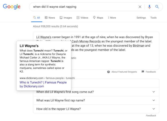 Google Featured Snippet mit Zusatzlink und Text-Overlay