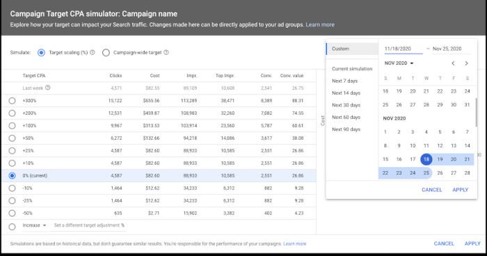 Googles Simulator für Smart Bidding mit einer CPA-Kampagne