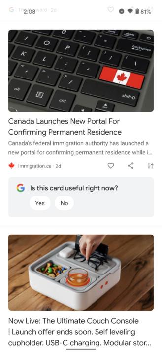 Google Discover: Hier werden Elemente subtil voneinander getrennt, © Android Police