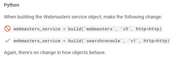 Notwendige Veränderungen in Python für die API-Bibliothek, © Google