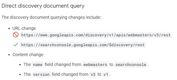 Notwendige Veränderungen bei der Abfrage des Discovery-Dokuments, © Google