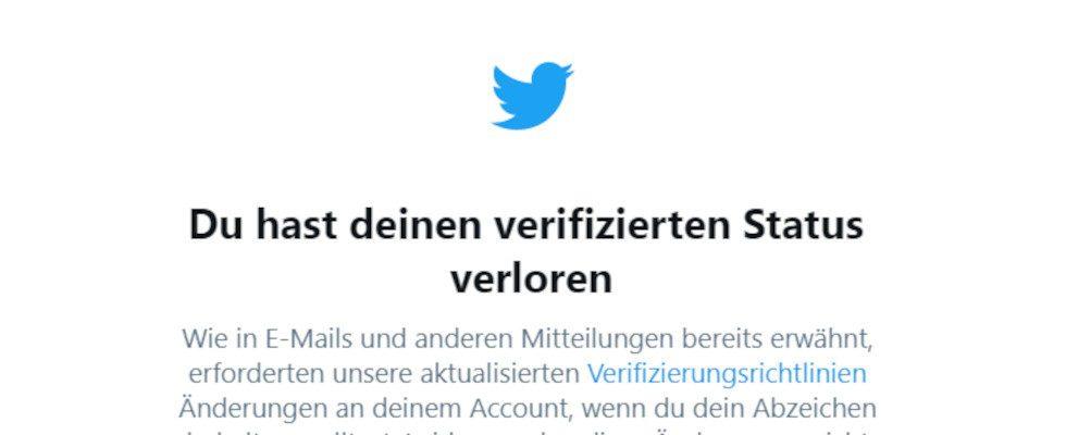 Twitter zeigt jetzt an, ob du Gefahr läufst, deinen blauen Haken zu verlieren