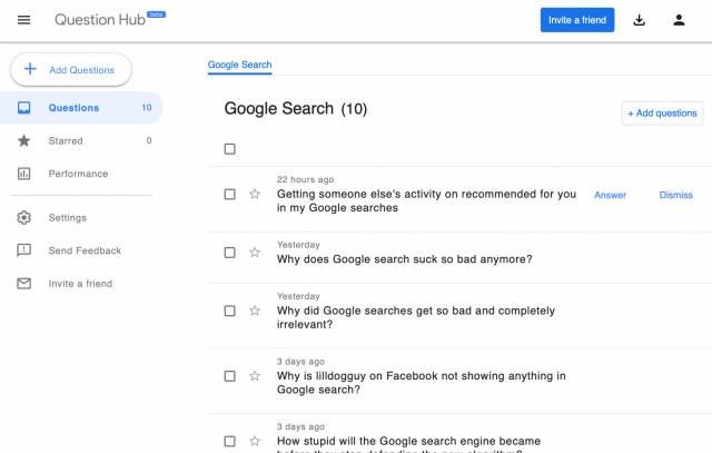 Barry Schwartz hat zehn Fragen im Content Hub zu seiner Liste hinzugefügt.