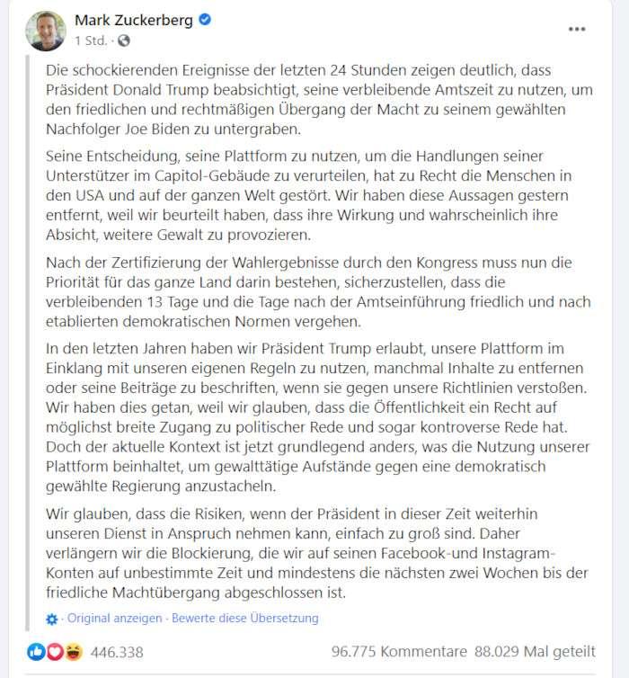 Der Post von Mark Zuckerberg in Facebooks Übersetzung, Screenshot Facebook