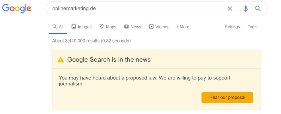 Google vs. Australien: Banner in den SERPs wettert gegen mögliches Gesetz