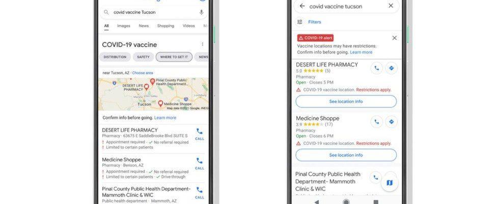 Google führt Impfzentren in Maps und Search auf