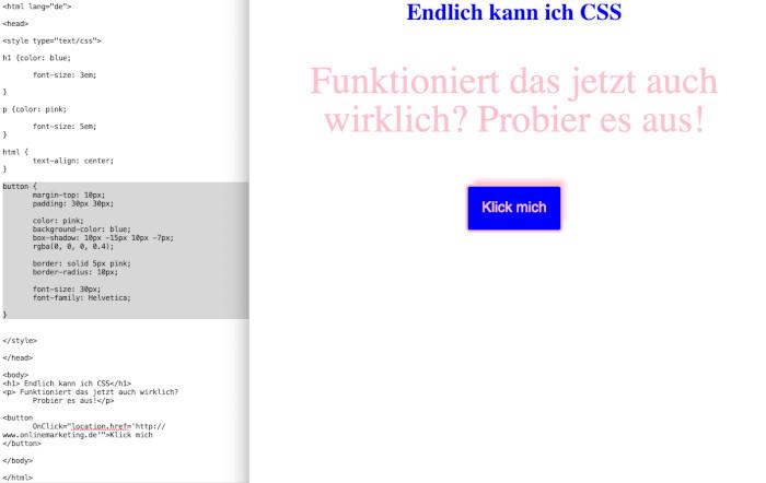 Button-Einbau über CSS