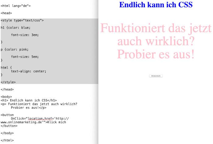 CSS-Befehle und Schrift, © Maria Kupke