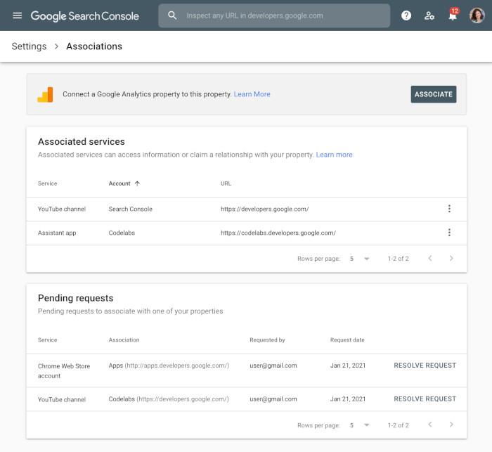 Die Google Associations in der Search Console, Beispielansicht