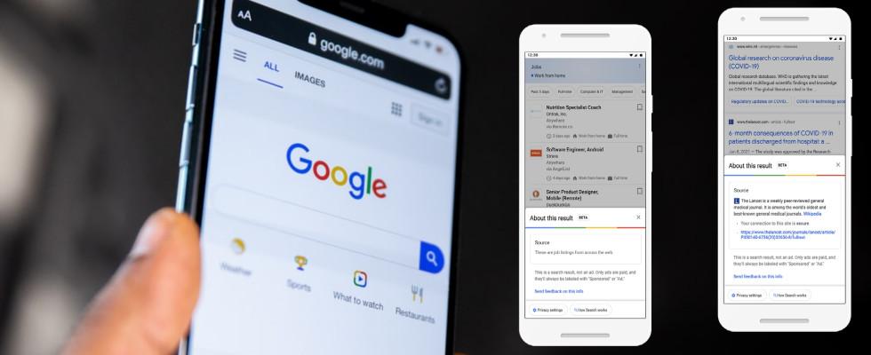 """Mit Support von Wikipedia: Google rollt Icon """"About this result"""" für die SERPs aus"""