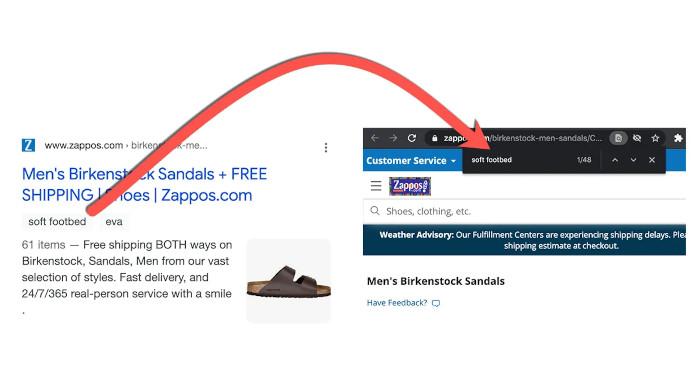 """Snippet für Birkenstock-Sandalen, das Keyword """"soft footbed"""" kommt auf der Quellseite 48 Mal vor,"""